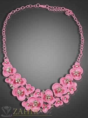 Луксозно колие с розови емайлирани цветя и циркони - 40+5 см - K1349