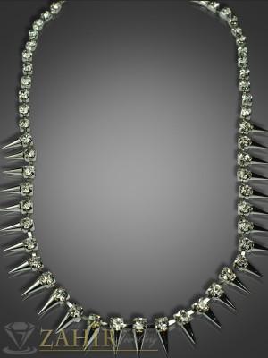 Луксозно колие 40+5 см с бели кристали и платинено покритие - K1365