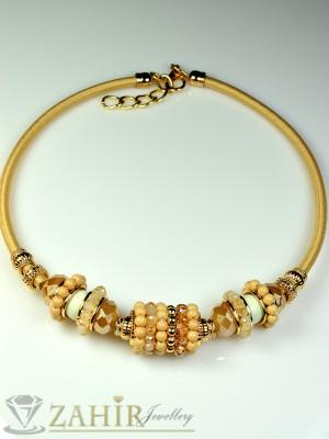 Колие обръч с бежови кристалчета и златно покритие - 40 см - K1389