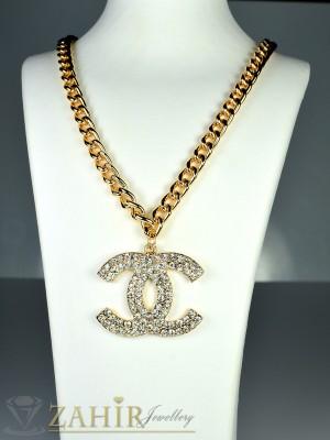 Моден ланец - 45 см с плочка Шанел с циркони - 4 см и златно покритие - K1421