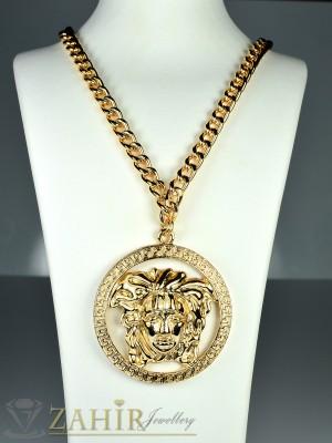 Актуален ланец - 55+5 см с плочка Версаче 5 см и златно покритие - K1422