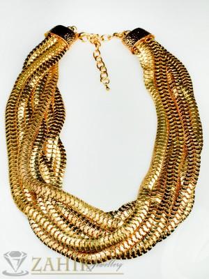 Актуален многопластов ланец с цвят старинно злато - 40 + 5 см - K1434