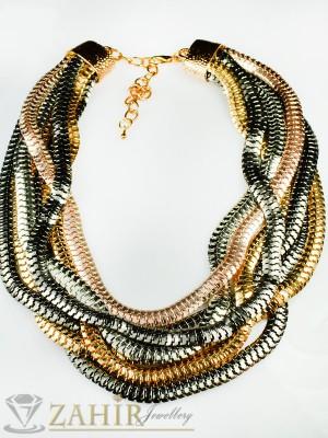 Актуален многопластов ланец трицветен - златно, сребърно и черно - 40 + 5 см - K1435