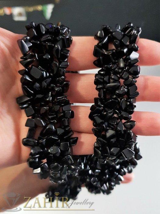 Бижутерия - Елегантно колие 45 см и ластична гривна с фасетирани черни камъни оникс чипс  - KO1439