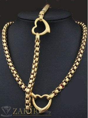 Актуален стоманен комплект ланец 45 см и гривна 19 см със сърца, златно покритие - KO1466