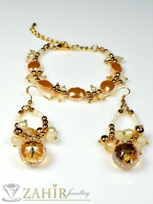 Комплект гривна с обеци пясъчни кристали - KO1304