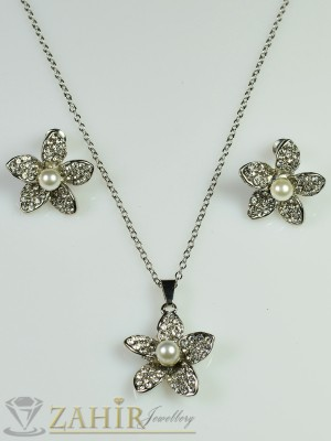 Перлено цвете с циркони - 2 см и обеци - 2 см и платинено покритие - 40+5 см - KO1390