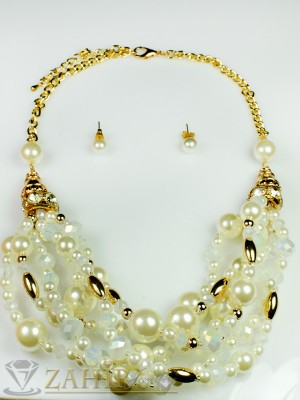 Бяло перлено колие - 40 + 5 см с лунен камък и златно покритие с обеци - KO1468