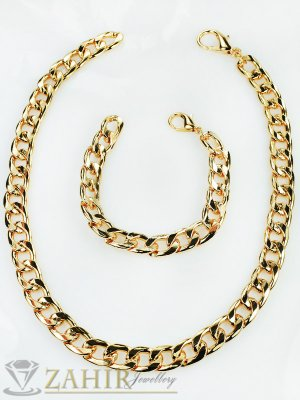 Актуален комплект със златно покритие ланец - 40 см и гривна - 18 см - KO1509
