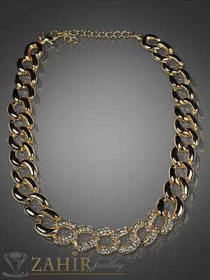 2016г хит моден ланец златно покритие с бели кристали - 38 см + 5 см - K1312