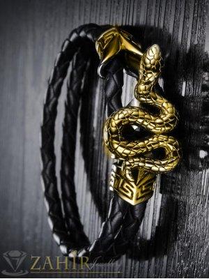Изящно изработена стоманена змия 3,5 см на черна плетена кожена гривна, дължина 22 см - MG1022