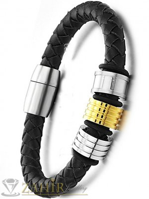 Черна гривна естествена кожа с стоманени елементи, широка 1 см, дължина 21 см - MG1066