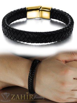 Черна гривна естествена кожа с стоманени елементи, широка 1 см, дължина 22 см - MG1068