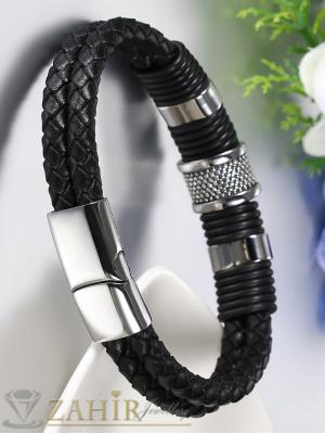 Актуална плетена черна кожена гривна със стоманени елементи, широка 1,5 см, дължина 22 см - MG1090