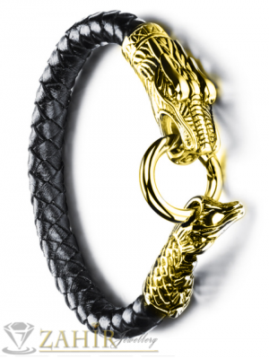 Стоманен позлатен дракон на плетена кожена гривна, широка 1 см, дължина 21 см- MG1091