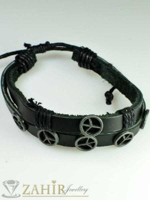 Черна гривна естествена кожа с стоманени елементи, широка 2 см, регулираща се дължина - MG1075