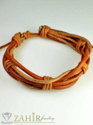Гривна естествена бежова кожа тип въже, широка 1 см, регулираща се дължина - MG1081