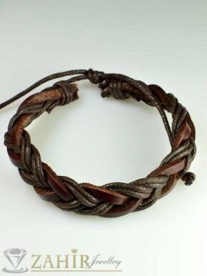 Актуална плетена кафява кожена гривна, широка 1 см, регулираща се дължина - MG1085