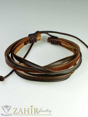 Актуална кафява кожена гривна тип въже, широка 2 см, регулираща се дължина - MG1087