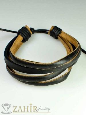 Актуална черна кожена гривна тип въже, широка 2 см, регулираща се дължина - MG1088