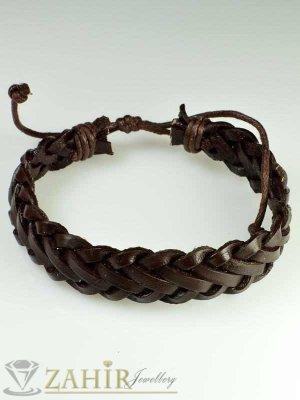 Актуална плетена кафява кожена гривна, широка 1,5 см, регулираща се дължина - MG1091