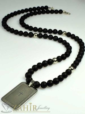 Колие с естествен черен оникс мат - 65+5 см и висулка плочка от неръждаема стомана - 4 см - MK1126