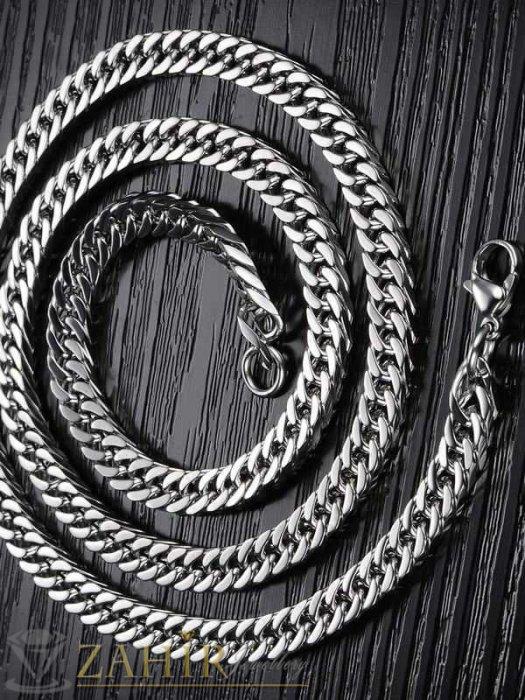 Бижута за мъже - Мъжки ланец 60 см от неръждаема стомана класическа плетка широк 0,6 см - MK1136
