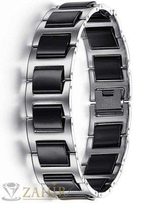 Луксозна гривна - 21 см от неръждаема стомана и черни керамични плочки- широка1,8 см - GS1001