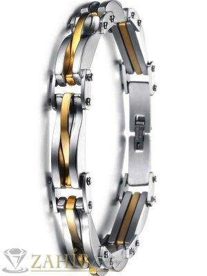 Луксозна гривна тип верига - 22 см неръждаема стомана с позлата - широка 1 см - GS1008