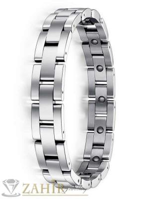 Стилна мъжка гривна 23 см от неръждаема стомана тип часовник - широка 1,1 см - GS1019