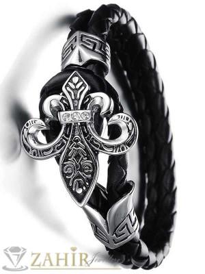 Кожена гривна - 19 см с меч неръждаема стомана - 2,5 см широк и стоманени елементи - GS1024