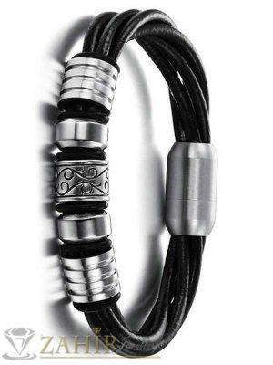 Стилна кожена гривна - 20 см с елементи от неръждаема стомана - широка 1,2 см - GS1040