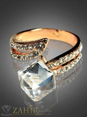 Елегантен пръстен прозрачен куб с циркони и златно покритие - P1264