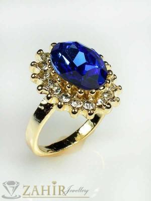 Великолепен пръстен с фасетиран син кристал, циркони и златно покритие - P1306