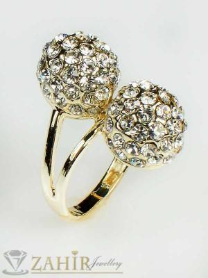 Стилен пръстен с топки шамбала и златно покритие - P1307
