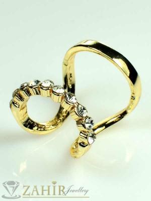 Интересен двоен пръстен, актуален с циркони и златно покритие - P1309