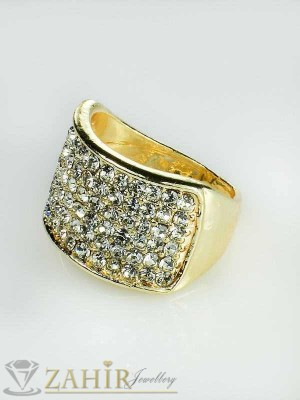 2016 хит класически пръстен с многобройни кристали и златно покритие - P1316