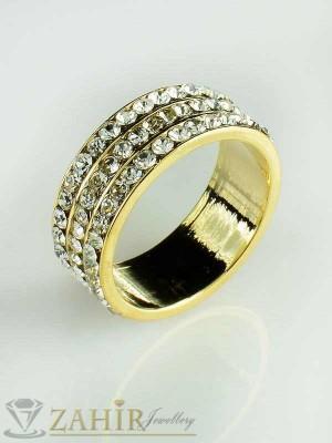 2017 топ хит класически пръстен с нежни циркони и златно покритие - P1318