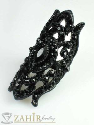 Масивен черен пръстен с фасетирани черни кристали - P1323