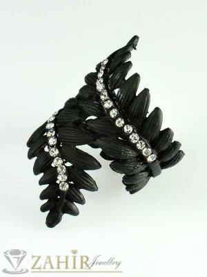 Красив черен пръстен листа с бели кристали, регулиращ се - P1325