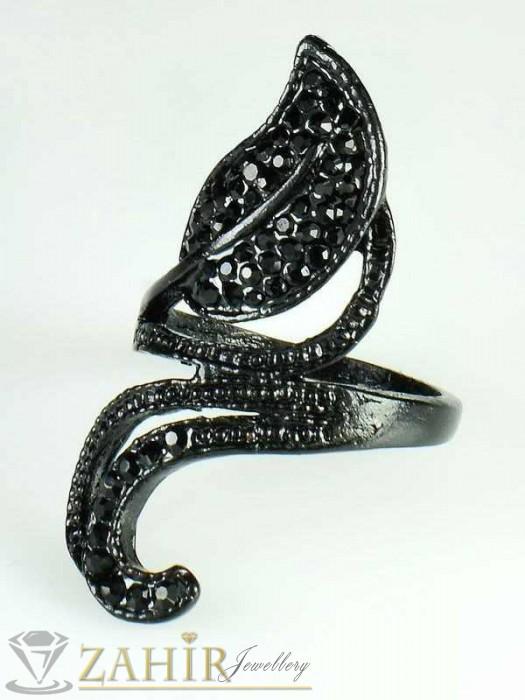 Красив черен пръстен листа с черни кристали, изящна изработка - P1326