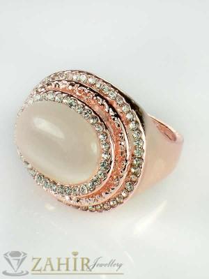 Великолепен пръстен с опал, циркони и розово златно покритие - P1330