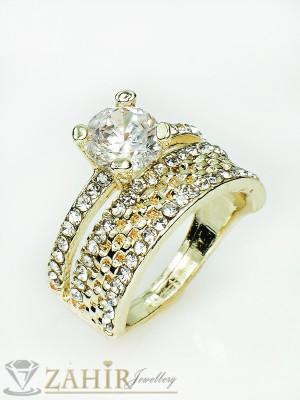 Великолепен двоен пръстен с циркон, бели кристали и златно покритие - P1358