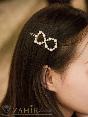Луксозна метална шнола с нежна панделка от перли 5 см, сребриста, високо качество - FI1117