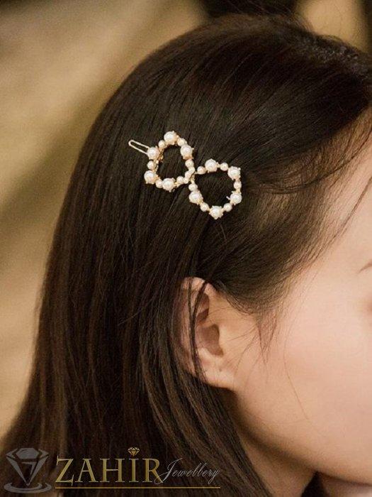 Аксесоари за коса - Луксозна метална шнола с нежна панделка от перли 5 см, златиста, високо качество - FI1124