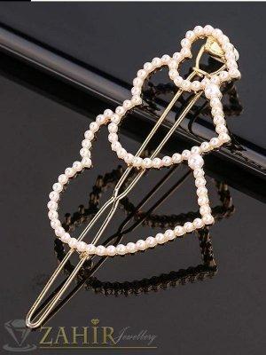 ХИТ луксозна метална шнола с 3 нежни перлени сърца 5 см, златиста, високо качество - FI1162