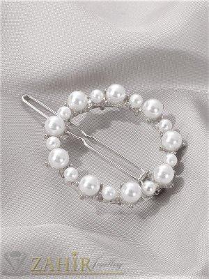 Луксозна метална шнола с нежен перлен овал 4,5 см, златиста, високо качество - FI1006