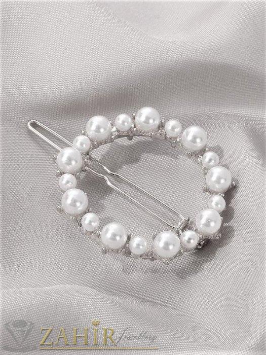 Аксесоари за коса - Луксозна метална шнола с нежен перлен овал 4,5 см, сребриста, високо качество - FI1006