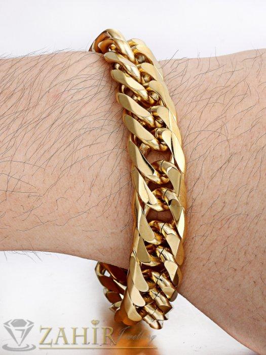 Мъжки бижута - Масивна гривна от неръждаема стомана с двойно златно покритие, класическа плетка,4 дължини, широка 1,3 см - GS1089