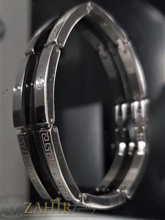 Бижута за мъже - Висококачествена стоманена гривна с гравирани елементи, дълга 20 см, широка 0,5 см - GS1113